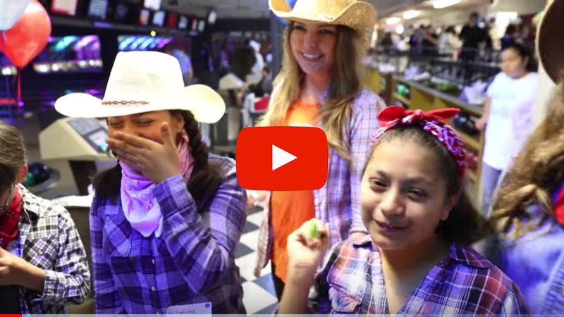 Friendship Bowl 2018 video photos of Mentor Ashley and her mentee Camilla