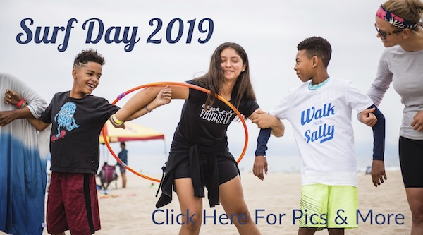 Mentees from Walk WIth Sally at Surf Day Friendship Activity 2019
